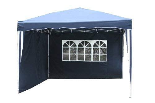 Kronenburg Faltpavillon wasserdicht Dachmaß 3 x 3 m UV Schutz 50+ Pavillon in Blau mit 2 Seitenteilen