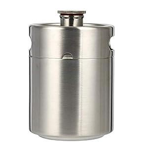Minibarril de cerveza de acero inoxidable, incluye asas dobles, ideal para el hogar, de acampada o en un picnic
