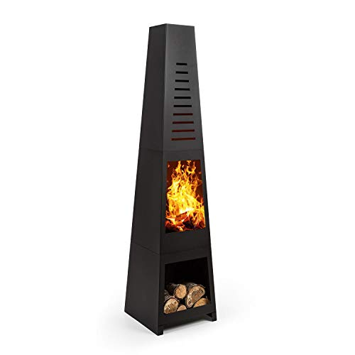 blumfeldt Monument - Garden Fireplace, Terrace Stove, FireView, Steel, Stainless, incl. Storage Space for Logs, Modern Look, Tip-Over Protection, With Charcoal Grate and Poker, Black
