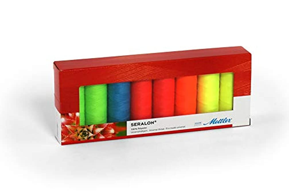 Mettler SERALON Neon Kit 8 Piece Sewing Thread Set: Universal Thread for Sewing or Embroidery - 100% Polyester - SE8 Neon Kit - 200m Per Roll
