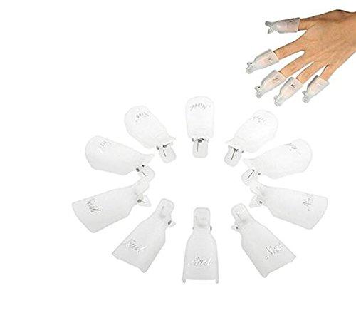 Qinlee 10 pcs Plastique Ongle Art Tremper Le Capuchon Pince à Ongles Gel UV Outil de Pellicule de Vernis à Ongles (Blanc)