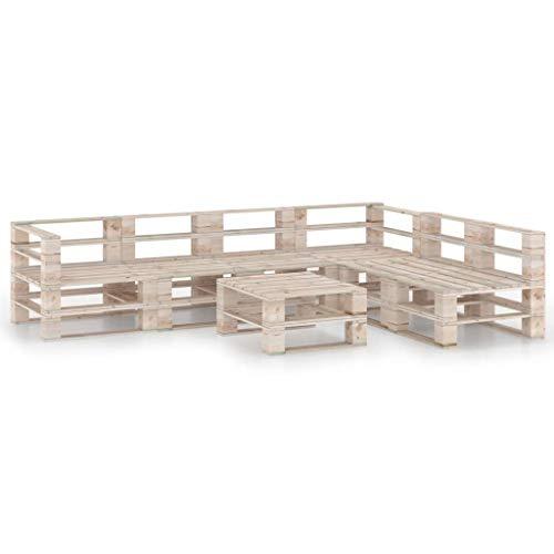 vidaXL Madera de Pino Juego de Muebles de Jardín de Palets 7 Piezas Muebles Exterior Terraza Hogar Cocina Mesa Silla Asiento Suave con Respaldo