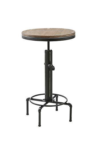 HOMEXPERTS Bartisch Set SOLID / Hoher Tisch im Industrial Design / Tischplatte aus Bambus / Fuß Metall Schwarz / Küchen-Möbel / Moderner Designer Tisch / 60 x 97 x 60 cm (B x H x T)