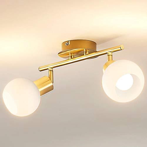 Lindby LED Deckenleuchte 'Elaina' (Modern) in Gold/Messing aus Metall u.a. für Wohnzimmer & Esszimmer (2 flammig, E14, A+, inkl. Leuchtmittel) - Lampe, LED-Deckenlampe, Deckenlampe, Wohnzimmerlampe