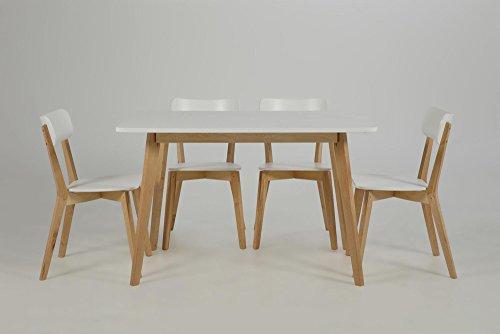 lifestyle4living Esstisch in weiß lackiert mit Tischbeinen in Birke Nachbildung und mit klarem Lack überzogen, Maße: B/H/T ca. 80/75,5/120 cm