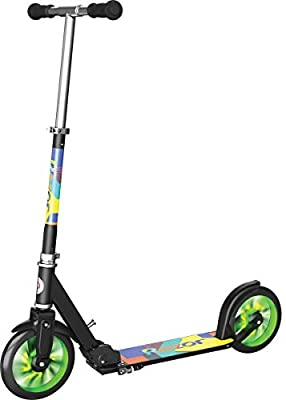 Razor A5 Lux Light-Up Kick Scooter, Lighted Large Wheels, Folding Scooter for Riders Up to 220 lbs