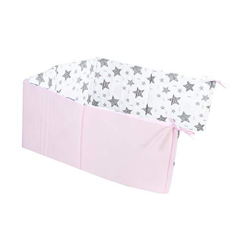 TupTam Babybett Kopfumrandung Nestchen Kurz Gemustert, Farbe: Sterne Rosa/Schwarz, Größe: 210x30cm (für Babybett 140x70)
