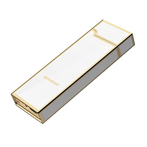 プラズマ ライター 電気 電子 usb ライター 小型 充電式 防風 薄型 軽量 誕生日 記念日 プレゼント (ホワイト)