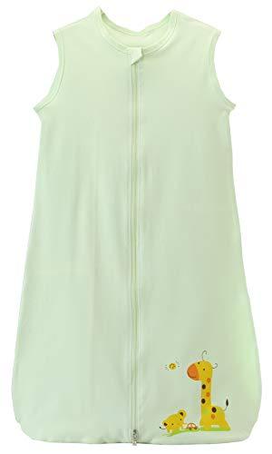 Chilsuessy Sommerschlafsack Baby Schlafsack Kleine Kinder Schlafanzug ohne Ärmel für Sommer und Frühling 100% Baumwolle (130/Baby Höhe 130-150cm, Gruen)