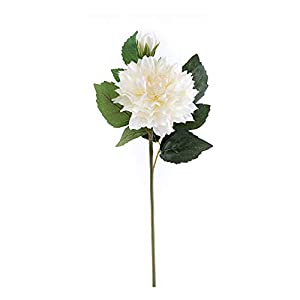 ELITE FLORAL (4 Pack) 23″ Artificial Dahlia Flowers Faux Dahlia Stem (White), Long Artificial Silk Flowers Realistic Fake Flowers for Wedding, Home Garden, Dining Table Decor, DIY