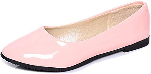 ORANDESIGNE Damen Klassische Pumps Frühling Sommer Mode Elegant Flach Lackleder Arbeit Schuhe Basic Work Geschlossene Pump Schuhe Rosa 39 EU