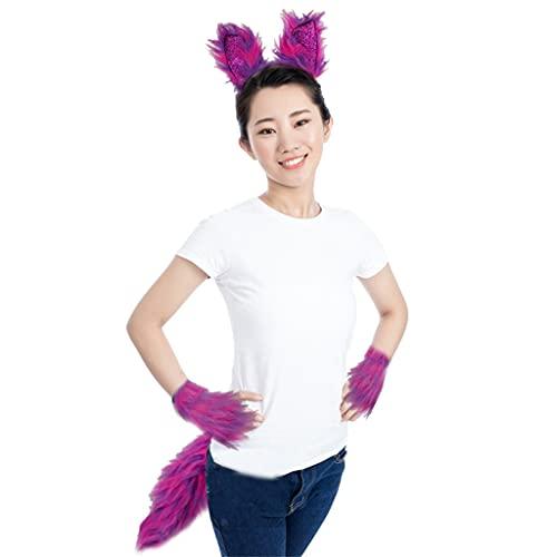 YO-HAPPY Juego de guantes de aro de pelo para cosplay con orejas de lobo de animales peludos, disfraz de Lolita de piel larga para decoración de fiesta de Halloween
