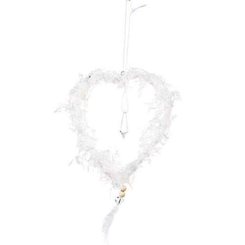 DUO ER Creative Christmas Tree Hanging Pendant with Crystal Pink White Heart Star Feather Ornament Christmas Decoration for Home Xmas (Color : White Heart)