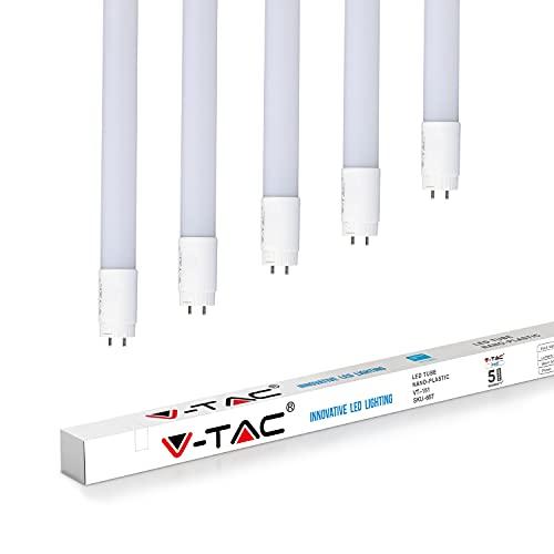 V-TAC T8 - Tubo LED in nanocristallo, ricambio fluorescente per tubo fluorescente G13 [Classe energetica A +] (bianco 4000 K, 22 W-150 cm), confezione da 5