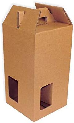 Pack 25 Cajas para transporte de 4 botellas con ventanas.: Amazon.es: Oficina y papelería