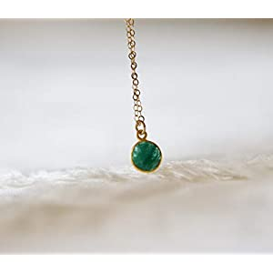 Green Emerald Gemstone Gold Filled Necklace - 16 Inches Length