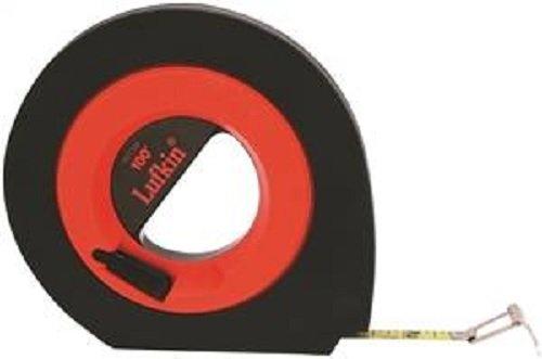 """Crescent Lufkin 3/8"""" x 100' Hi-Viz Orange Engineer's Speedwinder Yellow Clad Long Steel Tape Measure - HYT100D"""