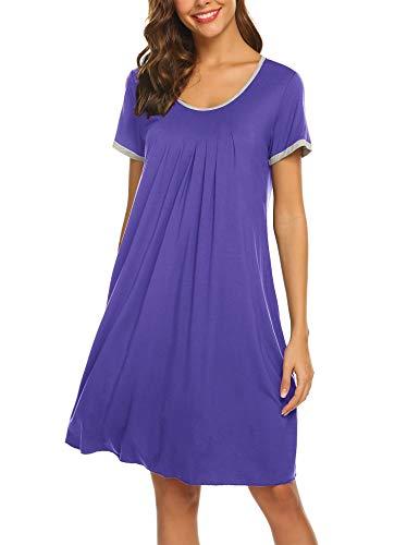 Ekouaer Women's Nightgown Short Sleeve Sleepwear Comfy Sleep Shirt Pleated Scoopneck Nightshirt S-XXL (Medium Purple, XXX-Large)