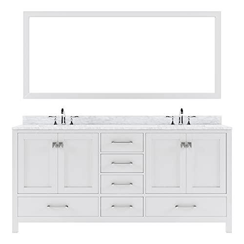 Virtu USA Caroline Avenue 72 inch Double Sink Bathroom Vanity Set in White w/Square Undermount Sink, Italian Carrara White Marble Countertop, No Faucet, 1 Mirror - GD-50072-WMSQ-WH