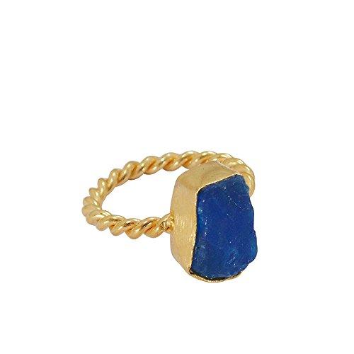 Anillo de apilamiento de oro vermeil de 18 quilates con piedra preciosa apatita