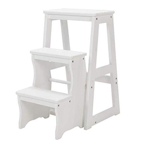 Inklapbare trapladder 3-traps houten ladder kruk en opbergkast, multifunctionele grenenhouten ladder voor thuis. wit