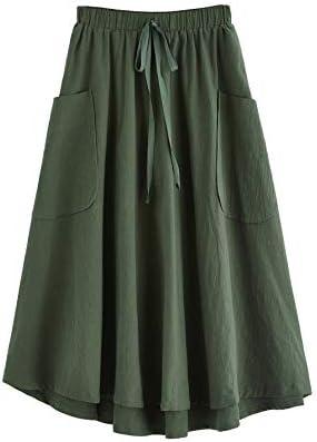 SweatyRocks Women s Vintage Pleated Elastic Waist Cotton Midi Skirt with Pocket Large Army Green product image