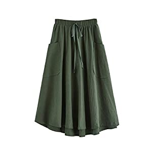 Women's Casual High Waist Pleated A-Line Midi Skirt