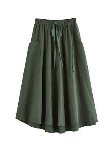 SweatyRocks Women's Vintage Pleated Elastic Waist Cotton Midi Skirt with Pocket Army Green M