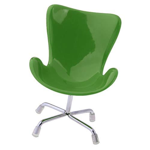 Baoblaze 1/6 Puppenhaus Miniatur Möbel Mini Stuhl Bürostuhl Schreibtischstuhl Modell - 11 x 15 cm - Grün