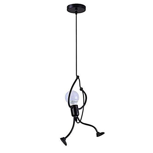 Lámpara colgante Retro Vintage iluminación de techo Iluminación Diseño creativo de dibujos animados,E27 Capacidad AC220-240V para comedor,Dormitorio,Café,Barra de Lectura Luz (NEGRO)