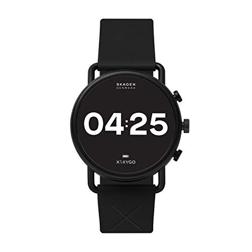 Skagen Connected Falster 3 Gen 5 Stainless Steel and Silicone Touchscreen Smartwatch, Color: Black (Model: SKT5202)