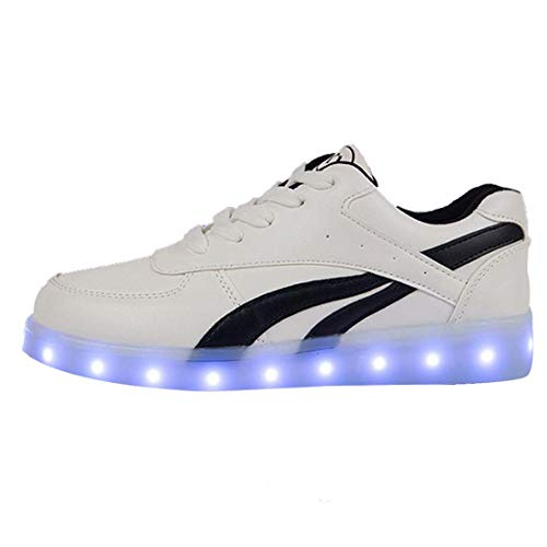 WXBYDX Unisex Blinkende Schuhe, 7 Farben LED Light Up Turnschuhe USB Aufladen Leuchtschuhe Licht Sport SneakerBlack-39