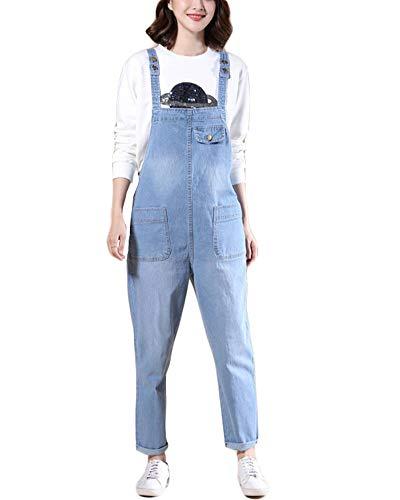 She Charm Salopette De Femmes Slim Plus Size Ripped Jumpsuit Pantalon Réglable Sangle,Light Blue,6XL