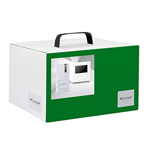 Comelit Videocitofono, 8461I Kit Monofamiliare con Pulsiera Quadra e Monitor Icona, Sistema Simplebus