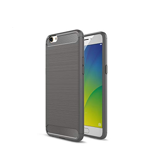 Kompatibel mit Oppo R9s R9s Plus/F3 Plus Hülle Carbon Fiber Textur Tasche Schutzhülle Ultra Dünn Slim Silikon Soft Flexibel TPU Cover Cases Stoßdämpfung Handyhülle (R9s, Grau)