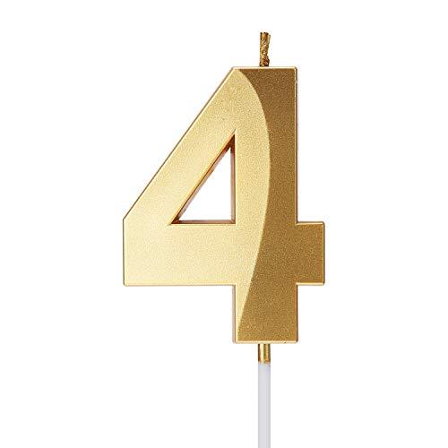 Smarcy Candela di Compleanno Numero 4 d'Oro Candela Numerale 4 Topper per Torta per 4 Anni