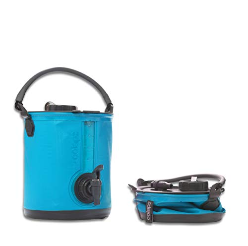 Colapz 2-in-1 BPA-freier Faltbarer Wasserbehälter mit Hahn - tragbarer Camping-Wasserkanister - Falteimer fürs Wohnmobil oder den Wohnwagen - Blau