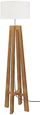 Tosel 51200 Lampadaire 1 Lumière, Bois, E27, 40 W, Blanc, 40 x 156 cm