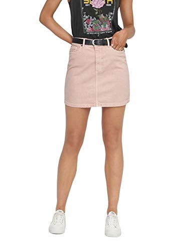 ONLY Damen kurzer Jeans-Rock, OnlyRose A-Shape Color Skirt PNT, Größe:36, Farbe:Rosa