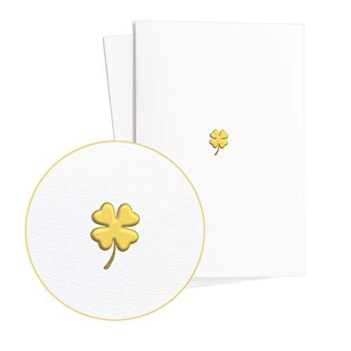 Edle Geburtstagskarte im 2er Set mit Glücksklee in Gold-Prägung auf wertvollem Papier|Schöner Geschenkgutschein, Karte Viel Glück, Karte Ruhestand, E33