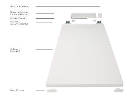 Rahmenlose Holzschiebetür in Weiß | Maße des Türblattes: 900 x 2035 mm | Inkl. Beschläge und einer oberen Laufschiene in 2 Metern | Geeignet als Zimmertürersatz - 3