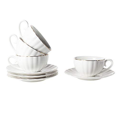 ComSaf Porzellan Cappuccinotassen mit Untertassen, Kaffeetasse Füllmenge 220ml, Weiß 4er-Set