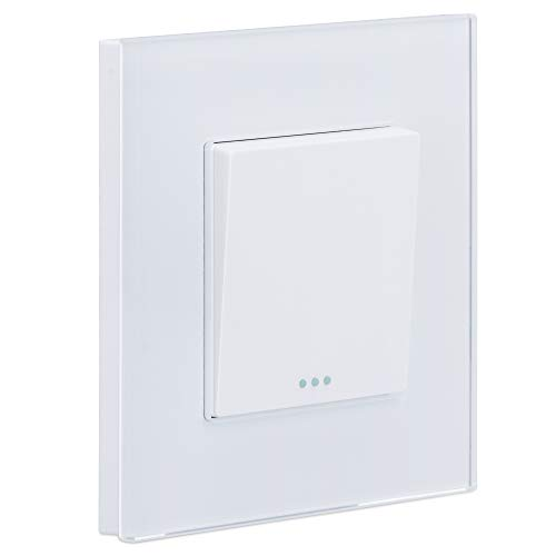 Navaris Interruptor de pared de cristal - Switch con pulsador para luz - Placa individual de vidrio de 8.5 x 8.5 x 4 CM empotrable en pared - Blanco