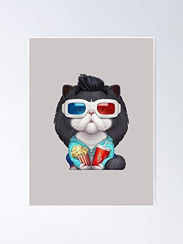 Situen Black White Persian Cat Wearing 3d Glasses Posterh - For Playroom Decor, Kids Printables, Nursery Wall Art, Printable Room Aldult Decor.