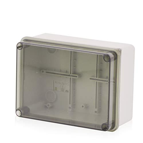 Carcasa de instalación de superficie, caja de conexiones Carcasa de plástico con tornillo | 150x110x70mm | cubierta transparente IP65 | Caja de distribución Carcasa vacía Carcasa industrial, caja de conexiones, armario de distribución