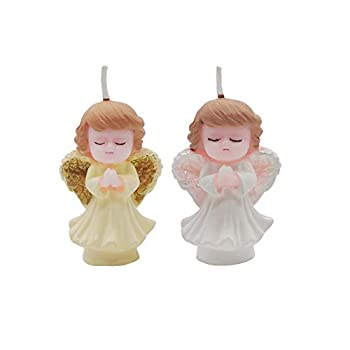 Simple polymer 2 Pcs Angel Birthday Candle Birthday Gifts Candles Angel Cake Topper Candle 3D Girl Angel Candles for Party Supplies,Girl