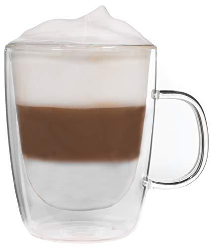 Snobby 450ml doppelwandige Tasse/Thermotasse/Glastasse/Teetasse/Kaffeetasse mit Schwebeeffekt by Feelino