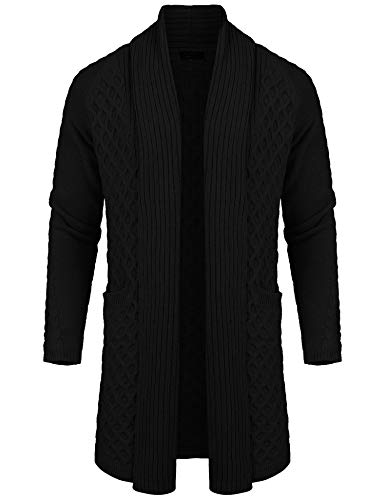 COOFANDY Mens Casual Knit Cardigan Linen Long Sleeve Shawl Collar Sweater Jacket