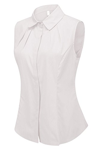 Double Plus Open Women's Cotton Sleeveless Button Down Shirt Collared Pleated Blouse White 18