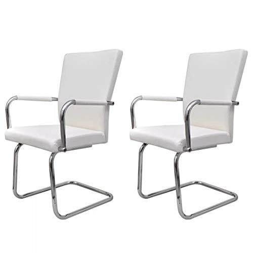 vidaXL 2X Sillas de Comedor de Tipo Voladizas con Reposabrazos Asientos de Salón Cantilever Muebles de Casa Hogar Sillón de Cuero Artificial Blanco